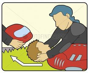 Erste Hilfe Serie Notfall Rettung Unfall Verkehrsunfall Verletzung Helm