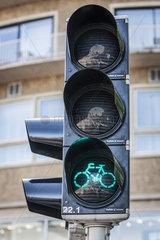 Fahrradstadt Utrecht  Fahrradampel und Radfahrer