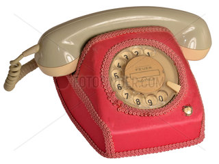 altes Bundespost-Telefon mit Textilhaube  1971