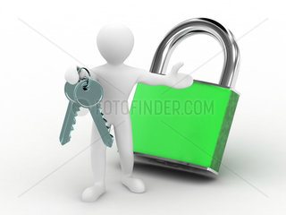 Men with keys and lock on white background. 3d