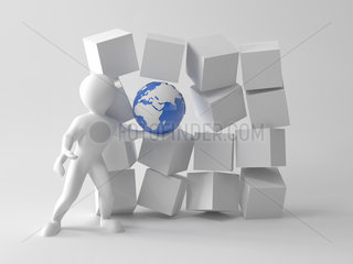 Concepts of uniqueness our Earth. Men with earth in boxes. 3d
