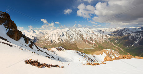 Beautiful panorama of Tien Shan Mountain range