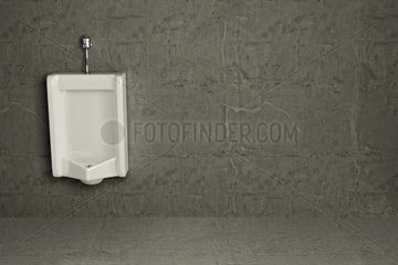 Urinal on dirty wall. Abstract background. 3d