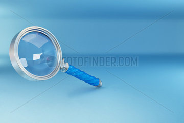 Loupe in blue background. Three-dimensional illustration. 3d