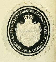 Dienstsiegel der Geheimkanzlei von Prinzregent Luitpold v. Bayern  1898