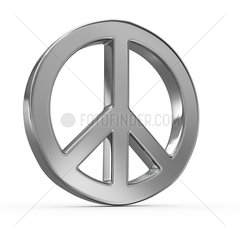 Peace sign on white isolated background. 3d