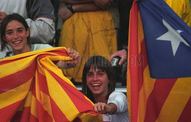 Katalanische Flaggen im Camp Nou in Barcelona
