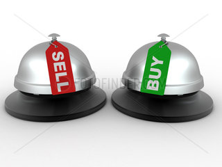 Hotel bell with labels buy and sell. 3d