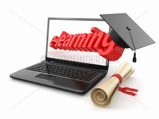E-learning. Laptop  diploma and mortar board.