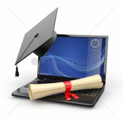 E-learning graduation. Laptop  diploma and mortar board