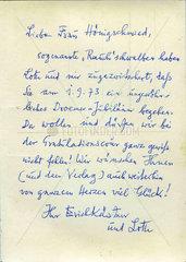 Erich Kaestner  Handschrift  1973