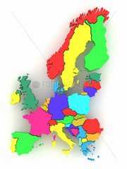 Three-dimensional map of Europe on white isolated background. 3d
