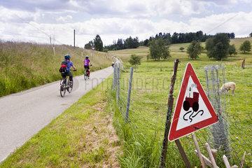 Radfahrer auf dem Baehnles Radweg