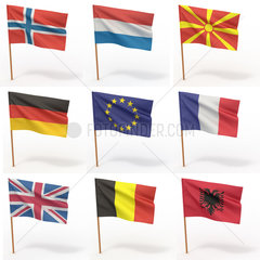 Collection of european flags. Norway