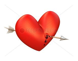 Pfeil in blutendem Herz  Oben. Arrow in a bleeding heart  above.