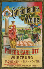 griechische Weine  Werbung  1898