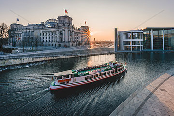 Germany  Berlin  view to Reichstag and Paul Loebe House at sunset