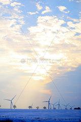 Windkraftwerke im Winter