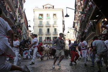 Stierlauf im spanischen Pamplona