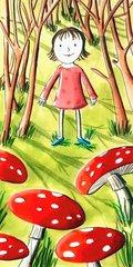 Maedchen beim Pilzsammeln