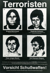 Fahndungsplakat RAF Terroristen  1979