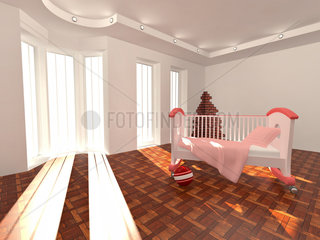 Children's bed in an empty room  lit by sunlight