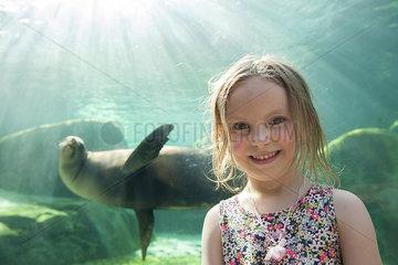 Little girl at aquarium  portrait