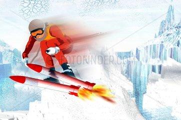Turbo Skier Skifahren Abfahrt Schussfahrt Geschwindigkeit