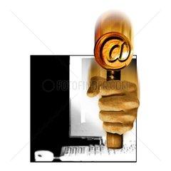 Internet Auktionen Verkauf Versteigerung Hand Hammer E-Mail @