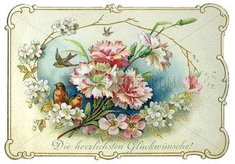 Die herzlichsten Glueckwuensche  Glueckwunschkaertchen  1899