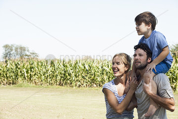 Family spending time together outdoors  portrait