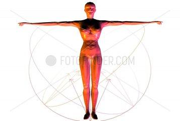 Frau 2 Energie Bewegungen Linien