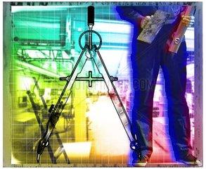 Handwerker Planung Zirkel Werkzeug Symbole