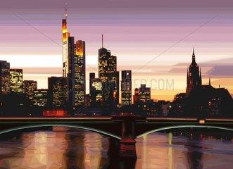 FRANKFURT am MAIN Wolkenkratzer Main Sonnenuntergang Serie Saedte