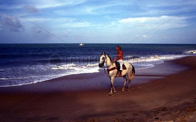 Maedchen auf einem Pferd an der Kueste in Brasilien