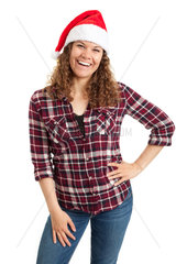 Woman in Santa hat posing isolated on white background