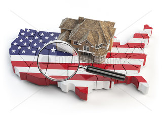 House and loupe on the map of USA in colors of australian flag. Search a house for buying or rent concept. Real estate development in USA.