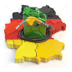 Gasoline and petrol consumption and production in Germany. Map of Germany with jerrycan and gas pump nozzle.