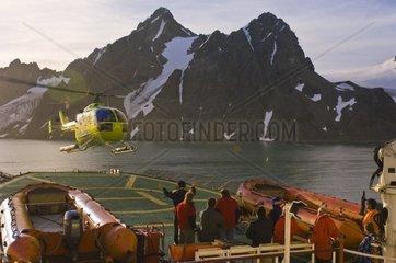 Helicopter tour Livingston Island Antarctica