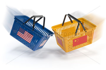 USA China market conflict. Economic trade war concept.Two opposing shopping baskets with USA and China flags.