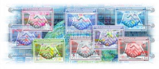 Internet Handschlag Vertrag Kommunikation Technik