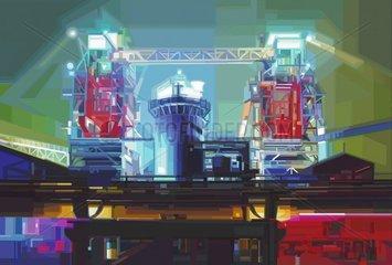 HOCHOFEN Industrie Nacht Beleuchtung Serie Ruhrgebiet