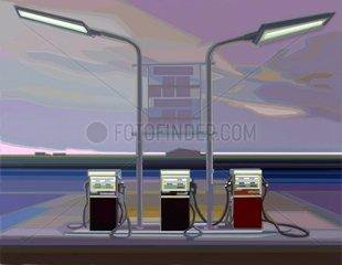 TEXAS MORNING Tankstelle Morgendaemmerung Neon Einsamkeit