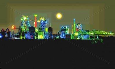 DUISBURG Industrie Nacht Licht Serie Ruhrgebiet