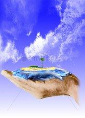 Hand Insel Naturschutz