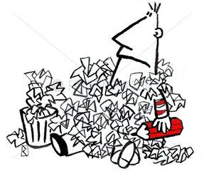 Schreiben wegwerfen Papierkorb Formulare Papierkrieg Formularflut