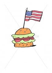 Serie Pictogramme Hamburger 2 Amerikanische Flagge Food