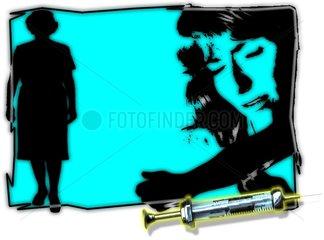 DROGEN Heroin Spritze Aufsicht