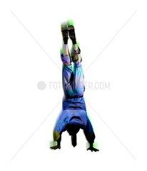 Handstand Mann Freude Gelenkigkeit