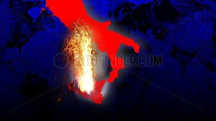 Vulkanausbruch Aetna Italien Symbol Groessenvergleich 1